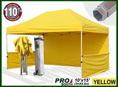 Eurmax Profession Ez Pop up Canopy Booth, Bonus Awning and 4weight Bag(10x15 Feet, Yellow) (Full Aluminum Frame with 2 1/4 Inch Hexagon Leg) by Eurmax. $729.95. Canopy top:600 Denier Polyester,Water Resistant,100% UV Protection,Fire Resistant: CPAI-84/ULC S109 & NFPA 701 Flame Retardancy Standards.canopy size:10x15Feet. weight:13.5LBS; Eurmax Profession Canopy booth (10x15feet)Includes:Canopy Top, Canopy Frame,back wall,Two(2)1/2walls, Rail bar,Awning,Four(4)Weight bag,Roller B...