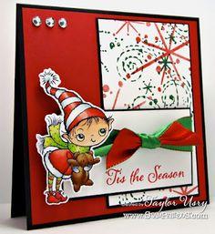 The Quiet Moments: Cute Little Elf @Stampendous Stamps Stamps @SpectrumNoir