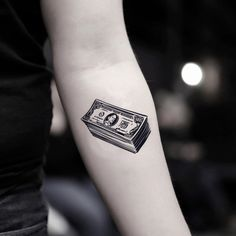 Small hundred dollar bill bankroll root of all evil illustrative tattoo design. Safe and non-toxic, waterproof temporary tattoo sticker. Cool Arm Tattoos, Fake Tattoos, Mini Tattoos, Finger Tattoos, Leg Tattoos, Sleeve Tattoos, Tattos, Animal Tattoos For Men, Small Tattoos For Guys