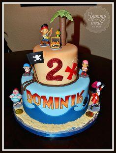 Jake and the Neverland Pirates Birthday Cake 3rd Birthday Parties, Birthday Fun, Birthday Ideas, Cupcakes, Cupcake Cakes, Pirate Birthday Cake, Pirate Party, Birthday Cakes, Jake Cake