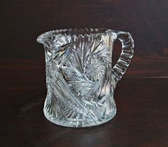 Cut Glass Pticher Signed H C Fry, from AnotherTimeAntiques donated to the Gas Free Seneca fundraiser July 23 at Hazlitt's 1852 Vineyards, 5712 State Route Hector, NY 14841 Come and have fun and donate! Cut Glass, Etched Glass, Glass Pitchers, Antique Glass, Vintage Home Decor, Clear Crystal, Vintage Antiques, Pottery, Crystals