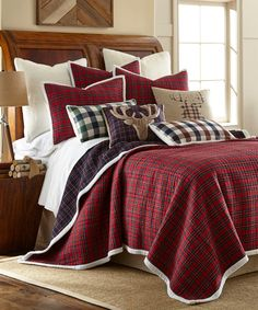 Another great find on #zulily! Red Plaid Faux Fur-Trim Quilt Set by Levtex Home #zulilyfinds