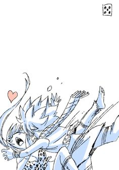 hiro mashima's sketch || i like how there's a heart which could mean that lucy likes it when natsu hugs her until she falls.
