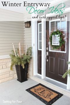 Winter Entryway Decor Ideas #curbappeal #decor