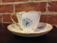 Vintage RARE KTK Lotus Ware Tea Cup and Saucer White with Blue Flowers #KnowlesTaylorKnowles