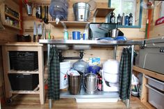 resourceful and clever small footprint / sustainable living cabin kitchen set-up.    Tim and Hannah's Affordable DIY Self-Sustainable Micro Cabin House Tour   Apartment Therapy