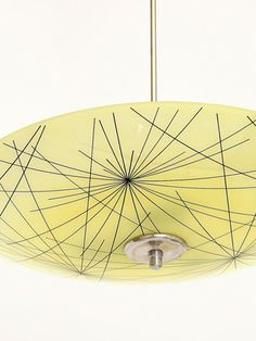 """czech mid-century pendant lamp — part of design exhibit for czechoslovakia pavilion, brussels world expo 1958; chrome and yellow glass with """"shooting-star"""" motif; 3 standard bulbs, max. 100W each, rewiring required :: http://www.praguekolektiv.com"""