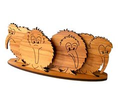 Cute Kiwi Coasters with Stand - Aeon Giftware