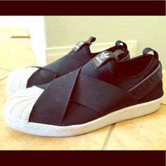 on sale e6b47 a80ac adidas Shoes   Adidas Superstar Slip-On Sneakers   Color  Black   Size