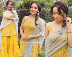 neha sharma in a yellow sharara suit scaled Party Wear Indian Dresses, Designer Party Wear Dresses, Indian Wedding Outfits, Indian Outfits, Wedding Dress, Casual Indian Fashion, Indian Fashion Dresses, Dress Indian Style, Indian Wear