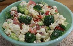 Broccoli Cauliflower Greek Salad  First off Combine: 1 bunch of Broccoli... 1 bunch of Cauliflower 8 strips of cooked and crumbled bacon (gluten free) 1/3 C. Chopped Onion 1 C. chopped Tomatoes 2 hard boiled eggs- chopped  Then in a small bowl mix well: 1 C. Miracle Whip 1/3 C. Sugar 2 Tbsp Vinegar Salt, Pepper to taste and I like to add in gluten free Greek Seasoning, it's optional.. Add the mixture to the Broccoli and gently toss to cover it all Refrigerate then serve.. YUMMY!  Share to…