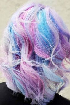 Best Hairstyles & Haircuts for Women in 2017 / 2018 Image Description Light Blue And Purple Color On Blonde Hair galaxies with blue and purple hair color ideas. Pick a light pastel option or bright ombre, mermaid hair, or highlights. Blue Purple Hair, Light Blue Hair, Hair Color Blue, Blonde Color, Cool Hair Color, Pink Blue, Blonde Ombre, Unique Hair Color, White Blonde
