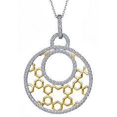 "14k Two Tone Gold F/VS Diamond Encrusted Pendant 16"" Rolo Chain"