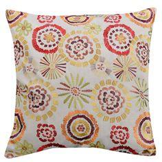 "Amazon.com: VV NOVA Decorative Embroidery Floral Pillow COVERS, 22""x 22"" Set of Two, Pink,Lemon Green&Yellow combo: Bedding & Bath"