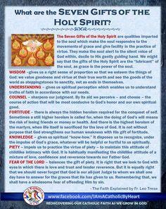 7 Gifts of the Holy Spirit | Catholicism | Pinterest | Holy spirit ...
