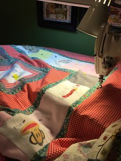 Stitching a memory quilt in the ditch before free motion quilting.  Using my JUKI