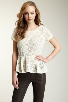 Short Sleeve Lace Knit Peplum Top by Annalee + Hope on @HauteLook