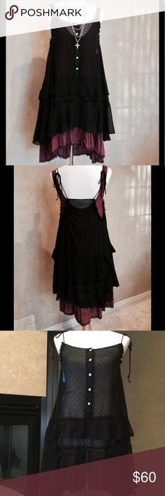 Free People Black Sheer Chemise EUC❤️❤️❤️❤️❤️❤️ FREE PEOPLE INTIMATES sheer black super-soft slip with raised pindots, tiered with lots of flowy fabric. Adjustable ties at shoulders and fabric can be gathered and adjusted to fit perfectly! I have it pictured with a Parisian slip also from Free People. Works great as a swimsuit cover-up as well! Free People Dresses High Low