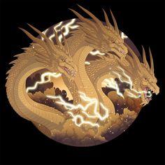 King Ghidorah by Mythka on DeviantArt King Kong, Godzilla Birthday Party, Godzilla Tattoo, Godzilla Toys, Godzilla Costume, Rukia Bleach, Godzilla Wallpaper, Legendary Pictures, Japanese Monster
