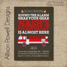 Fire Truck Fire Station Firemen Birthday by allisonpowelldesigns, $15.00