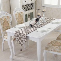 Brief style dot checkered tassel table runner party wedding decorative