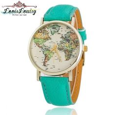 Leather Strap World Map Watch for Lady