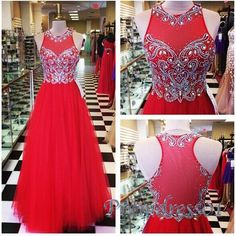Cute red tulle long prom dress with beautiful top details, evening dress for teens