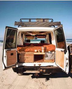 Camper Van Interiors That Could Replace A Tiny Home – House Topics – camping Bus Life, Camper Life, Campers, Vw Camper, Van Camping, Camping Hacks, Kombi Home, Vanz, Van Home