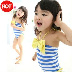 2013 New summer baby girl swimsuits navy blue stripes girls big bows swimming wear one piece swimwear for children toddler wear