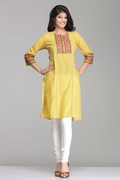 Beautiful Yellow & Pink Straight Cotton Kurta By Farida Gupta