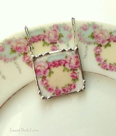 Antique French porcelain ring of soft pink roses broken china jewelry necklace