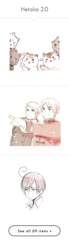 """""""Hetalia 2.0"""" by magical-mei ❤ liked on Polyvore featuring drawings, hetalia, render, animals, manga, aph france, aph prussia, aph spain, anime and italy"""