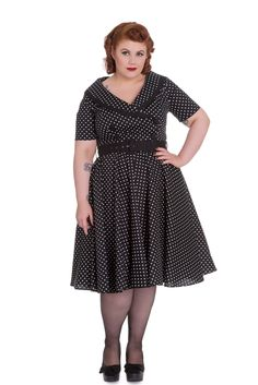Plus Size 60's Vintage Style Polka Dot Starlet Wide V-neck Collar Party Dress