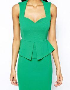 Image 3 ofVesper Textured Peplum Dress with Sweetheart Neckline