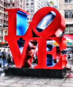 Love sign love city sign buildings new york sculpture
