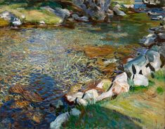 """Val d'Aosta / Stepping Stones, ca 1907, John Singer Sargent. (1856 - 1925) - Oil on Canvas - (Source:  Noble Dreams & Simple Pleasures  ) """