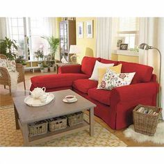 EKTORP loveseat with chaise Love the room layout and the red couch. Red Couch Decor, Home Living Room, Red Sofa Living Room, Ikea Living Room, Red Couch Living Room, Apartment Decor, Couches Living Room, Red Couch Rooms, Room Layout