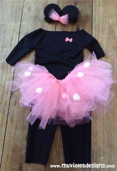 Disfraz de minnie 1 año, vicha, pollera de tul, remera y calza. myvioletdesigns.com