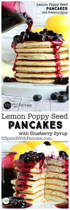 These Lemon Poppy Seed Bisquick pancakes are light & fluffy making it simple to create an amazing breakfast! Top with blueberry syrup for a morning treat!