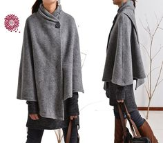 A very special wool poncho from idea2lifestyle, mixing elegance, coolness and confidence. Poetic asymmetrical cut, when you walk, feel the flow of