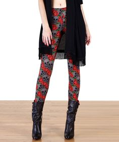 Look at this Tough Luv Red & Gray Rose Skull Leggings- Women on #zulily today!