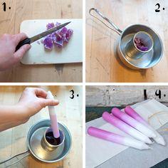 Schritt-für-Schritt zur eingefärbten Kerze