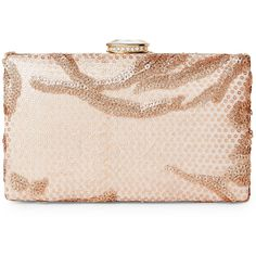 Sasha Glitter Sequin Box Clutch ($20) ❤ liked on Polyvore featuring bags, handbags, clutches, metallic, metallic handbags, hardcase clutch, pink purse, box clutch and shoulder strap purses