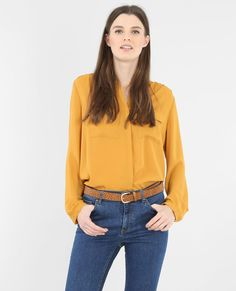 Chemisier fluide moutarde Chic, Blouse, Jeans, Long Sleeve, Sleeves, Fall Winter, Tops, Women, Style