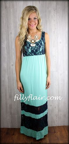 Oh so flattered lace maxi dress in MINT and navy: Filly Flair