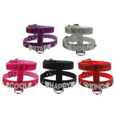 (5 colors ) Bling Personalized Name Pu Leather Dog Harness 10mm Slider for Rhinestone Letters And Charm