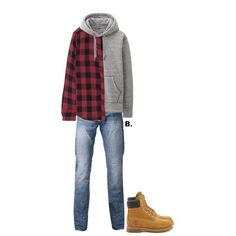 // #theleeds plaid shirt, #uniqlo sweater, #mackeen denim & #timberland boots