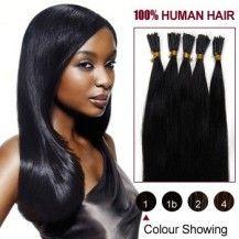 "18"" Jet Black(#1) 100S Stick Tip Human Hair Extensions 556"