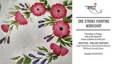 One Stroke Painting Workshop Leave Pattern, One Stroke Painting, Painting Workshop, Flat Brush, Art Party, Acrylic Colors, Different Patterns, Flower Making