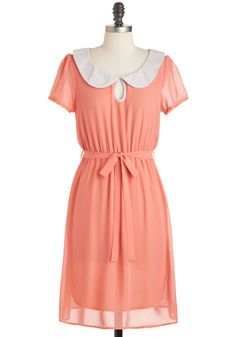$49.99 Behold The Coral Dress - Mid-length, Coral, White, Solid, Buttons, Peter Pan Collar, Belted, Casual, A-line, Short Sleeves, Collared, Vintage Inspired, 60s, Pastel